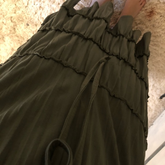 Army green tiered maxi skirt.
